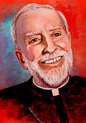 Catholic Pastels Prints - Bishop Gerald  Print by M Diane Bonaparte