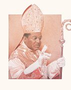Sepia Chalk Drawings - Bishop Joseph Perry by Jed Gibbons