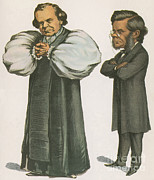 Comparative Anatomist Posters - Bishop Wilberforce And Thomas Huxley Poster by Science Source