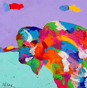 Yellowstone Paintings - Bison Ablaze by Tracy Miller