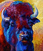 Prairies Painting Posters - Bison Boss Poster by Marion Rose