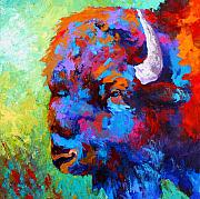Animal Painting Prints - Bison Head II Print by Marion Rose