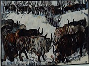 Winter-landscape Tapestries - Textiles Originals - Bison in Winter by Piotr Grabowski
