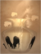 Glass Wall Digital Art - Bison by Joyce Dickens