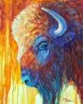 Abstract Wildlife Painting Posters - Bison on the Prairie in Autumn Poster by Theresa Paden