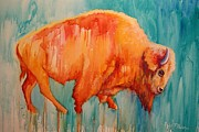 Dripping Paint Posters - Bison on the Santa Fe Trail Poster by Theresa Paden