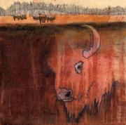 Bison Mixed Media Framed Prints - Bison Framed Print by Pat Butler