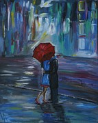 Couple Hugging Paintings - Bisous by Leslie Allen