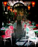Chairs Digital Art Prints - Bistro Chairs Print by Lori Seaman