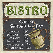 Cafe Painting Framed Prints - Bistro Chalkboard  Framed Print by Debbie DeWitt