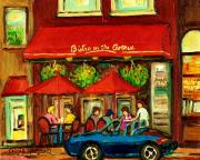 Crowds Paintings - Bistro On Greene Avenue In Montreal by Carole Spandau