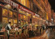Street Scene Framed Prints - Bistrot Champollion Framed Print by Guido Borelli