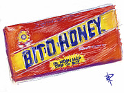 Chewy Candy Posters - Bit O Honey Poster by Russell Pierce