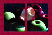 Crisp Mixed Media Posters - Bitten Apple Diptych Poster by Steve Ohlsen