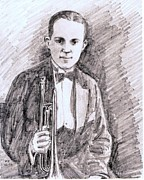 Big Bands Drawings - Bix Beiderbecke 1921 by Mel Thompson