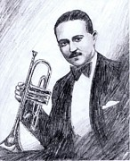 Orchestra Drawings Metal Prints - Bix Beiderbecke 1929 Metal Print by Mel Thompson