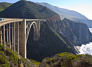 Secluded Mountain Landscape Prints - Bixby Bridge Crossing a Chasm Print by David Buffington