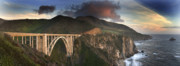 Bixby Bridge Metal Prints - Bixby Bridge Sunset Metal Print by Joe  Palermo