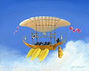 Rowing Painting Prints - Bizarre Feline-Powered Airship Print by John Deecken