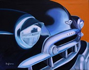 Street Rod Paintings - Black 1949 Chevrolet by Dean Glorso