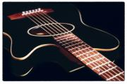 Acoustic Guitar Digital Art Metal Prints - Black Acoustic Guitar Metal Print by Mike McGlothlen