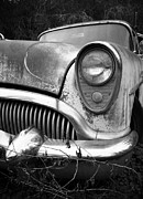 1949 Merc Prints - Black an White Buick Print by Steve McKinzie