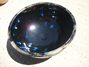 Black Ceramics Metal Prints - Black and Blue Bowl Metal Print by Leahblair Jackson