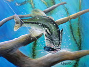 Largemouth Paintings - Black and Blue Jig by Robert Ballance