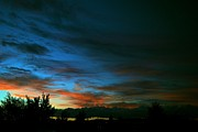 Sunset Greeting Cards Photo Prints - Black and Blue Print by Kevin Bone