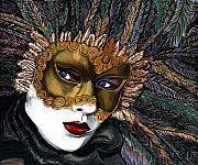 Wonderful Paintings - Black and Gold Carnival Mask by Patty Vicknair