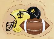 Football Paintings - Black and Gold Champs by Valerie Chiasson-Carpenter