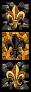 Black Painting Posters - Black and Gold Triple Fleur de Lis Poster by Elaine Hodges
