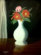Flower Still Life Prints Mixed Media Posters - Black and Red Poster by Travis  Ragan