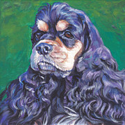 Spaniel Puppy Paintings - black and tan Cocker Spaniel by Lee Ann Shepard