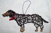 Dog  Sculpture Prints - Black And Tan Daschund Print by Charlene White