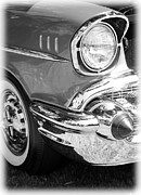 1935 Buick Prints - Black and White 1957 Chevy Print by Steve McKinzie