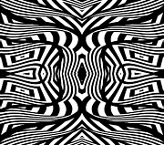 Op Art Digital Art Posters - Black and White Abstract Art No.322. Poster by Drinka Mercep