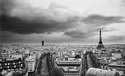 Black And White Paris Metal Prints - Black And White Aerial View Of An Overcast Sky Above The Eiffel Tower Metal Print by Stockbyte