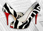 Pumps Painting Prints - Black and White and Red All Over Print by Elaine Plesser