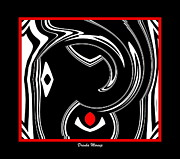 Concentration Digital Art - Black and White and Red No.9 by Drinka Mercep