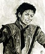 Michael Jackson Pastels Framed Prints - Black and White Framed Print by Andrew Ormes