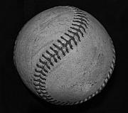 Mlb Metal Prints - Black And White Baseball Metal Print by Rob Hans