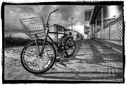 Landscape Greeting Cards Framed Prints - Black and White Beach Bike Framed Print by Debra and Dave Vanderlaan