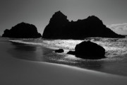 Big Sur Beach Posters - Black and white Big Sur landscape Poster by Pierre Leclerc