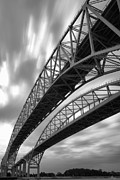 Family Time Prints - Black and White Blue Water Bridge Print by Gordon Dean II