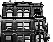 Alanna Pfeffer Framed Prints - Black and White Brick Apartment Building Framed Print by Alanna Pfeffer