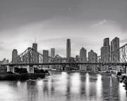 Rights Managed Framed Prints - Black and White Brisbane Landscape Framed Print by Chris Smith