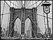 Brooklyn Bridge Posters - Black and White Brooklyn Bridge Poster by Allan Einhorn