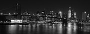 Skyline Posters Framed Prints - Black and White Brooklyn Bridge Framed Print by Shane Psaltis