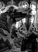 Dana Framed Prints - Black and white Carousel Framed Print by Dana  Oliver